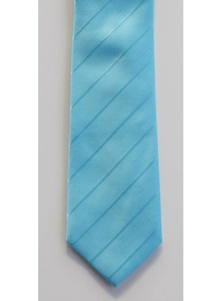 Robbins & Brooks Polyester Pocket Tie- Cyan Stripes