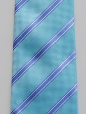 Robbins & Brooks Polyester Pocket Tie- Cyan Blue & White Stripes