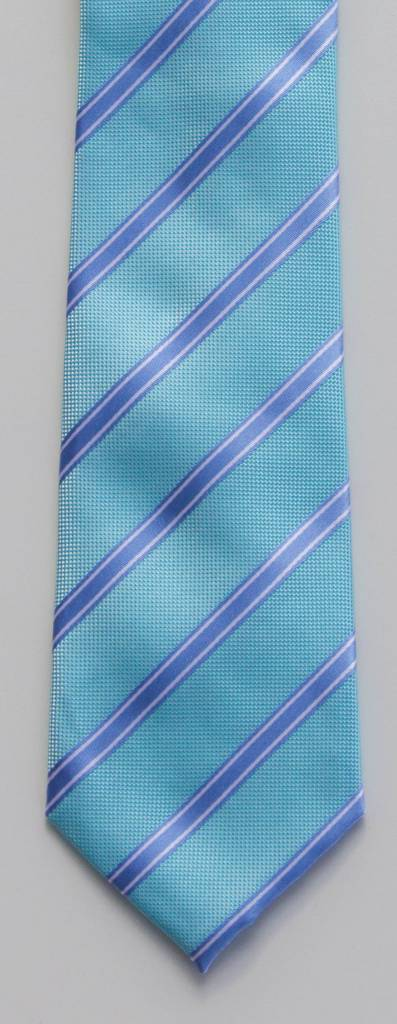 Robbins & Brooks Polyester Pocket Tie- Cyan Blue & White Stripes