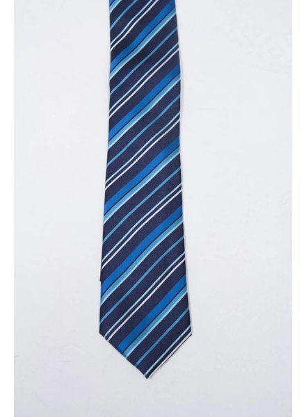 Robbins & Brooks Polyester Pocket Tie- Navy, Green & Cyan Stripes