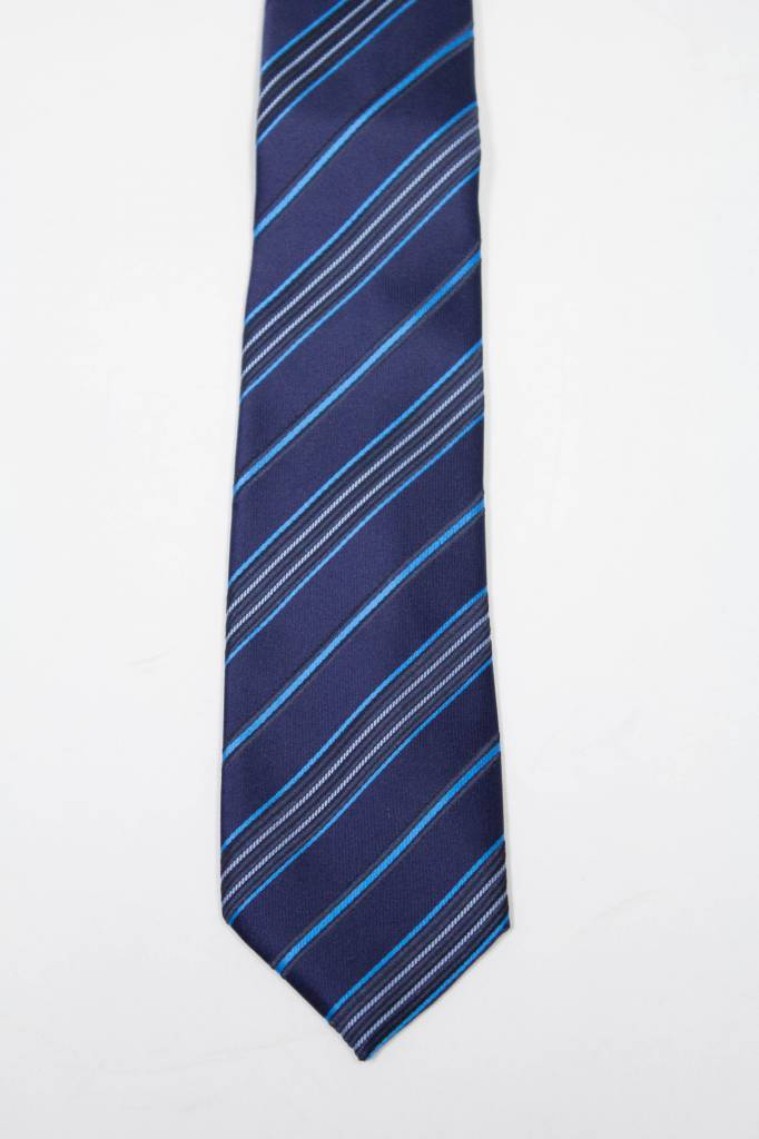 Robbins & Brooks Polyester Pocket Tie- Navy, Blue & Light Blue Stripes