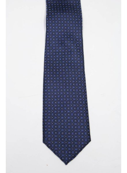 Robbins & Brooks Polyester Pocket Tie- Navy Stripes with Dots
