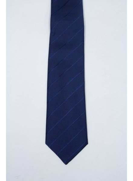 Robbins & Brooks Polyester Pocket Tie- Navy Stripes