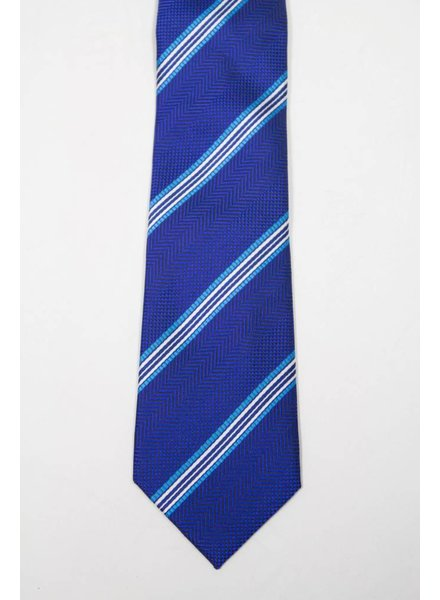Robbins & Brooks Polyester Pocket Tie- Navy Herringbone Pattern with Stripes