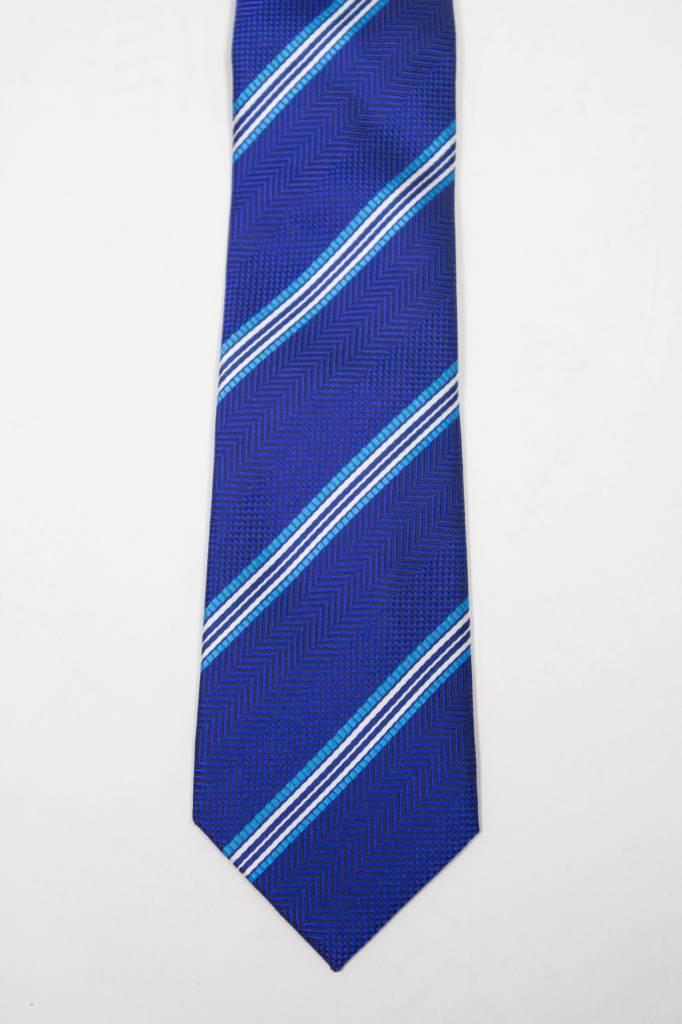 Robbins & Brooks Polyester Pocket Tie- Navy Herringbone Pattern with Stripes