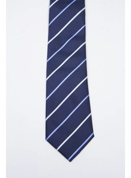 Robbins & Brooks Polyester Pocket Tie- Navy Blue & White Stripes