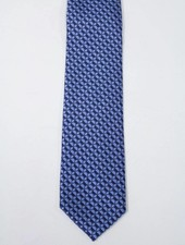 Robbins & Brooks Polyester Pocket Tie- Navy & Blue Geometric Pattern