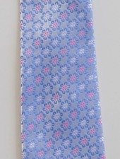 Robbins & Brooks Polyester Pocket Tie- Light Grey with Blue Flower