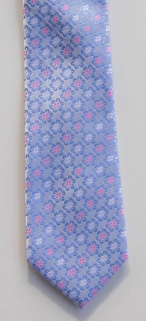 Robbins & Brooks Polyester Pocket Tie- Light Grey with Blue Flower