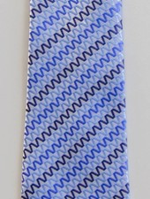 Robbins & Brooks Polyester Pocket Tie- Light Grey Design with Blue Lines