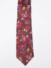 Robbins & Brooks Polyester Pocket Tie- Red & Black Design with Red Floral Pattern