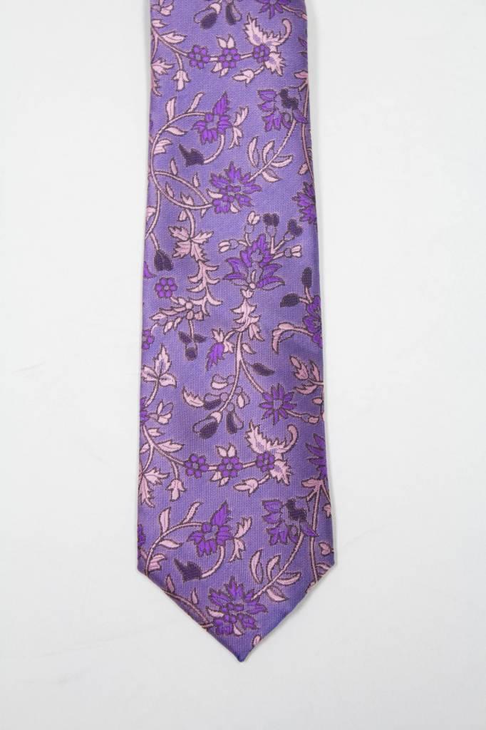 Robbins & Brooks Polyester Pocket Tie- Purple & Pink Design with Flower Pattern