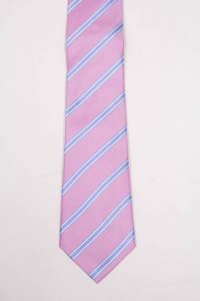 Robbins & Brooks Polyester Pocket Tie- Pink, Blue & White Stripes