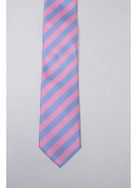 Robbins & Brooks Polyester Pocket Tie- Pink & Blue Stripes with Checked Pattern