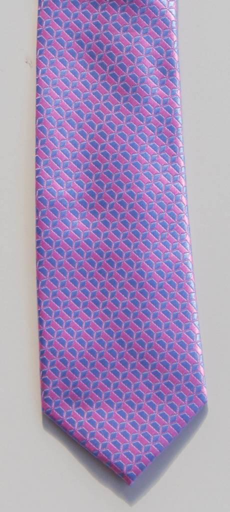 Robbins & Brooks Polyester Pocket Tie- Pink & Blue Geometric Pattern