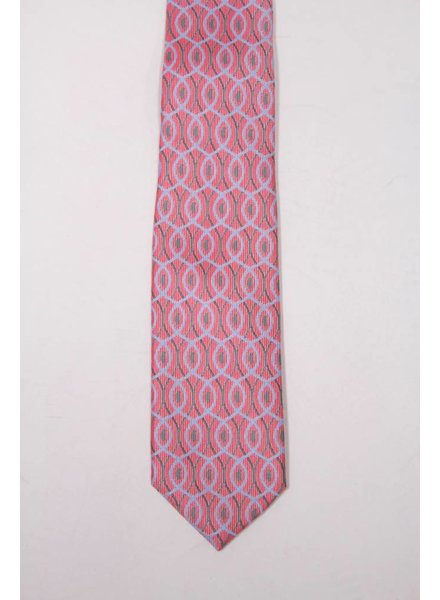 Robbins & Brooks Polyester Pocket Tie- Red Twill with Blue Pattern