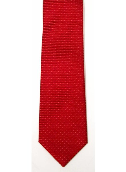 Robbins & Brooks Polyester Pocket Tie- Red Stripes with White Dots