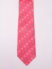 Robbins & Brooks Polyester Pocket Tie- Red Herringbone Pattern with Little Flower