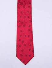 Robbins & Brooks Polyester Pocket Tie- Red Floral Fabric with Burgundy Flower