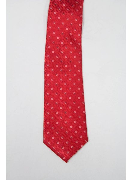 Robbins & Brooks Polyester Pocket Tie- Red Design with White Squares