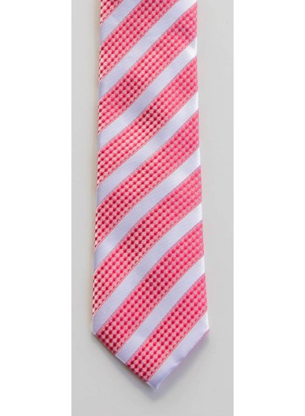 Robbins & Brooks Polyester Pocket Tie- White Stripes with Red Checked Pattern