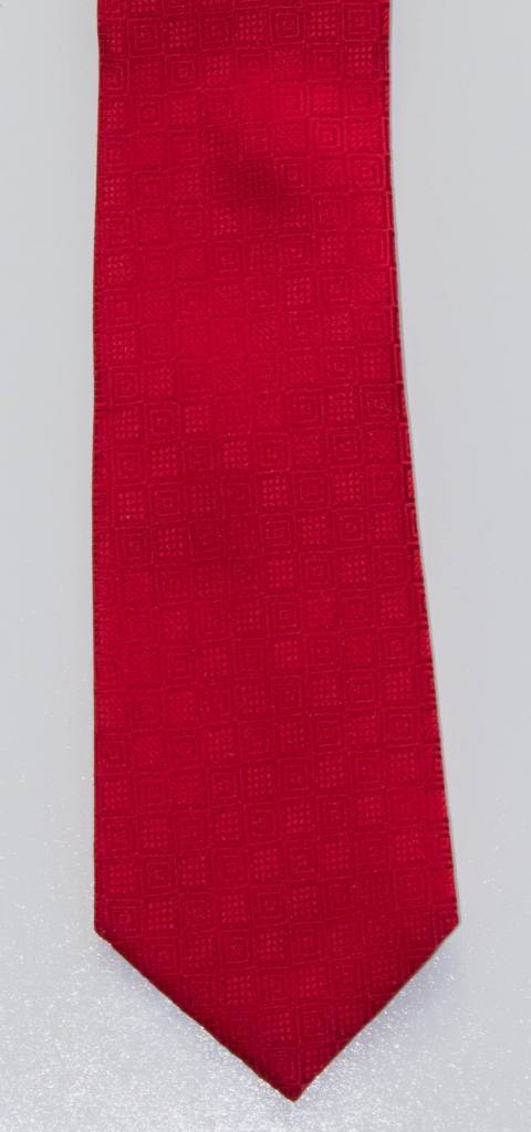 Robbins & Brooks Polyester Pocket Tie- Red Checked Pattern