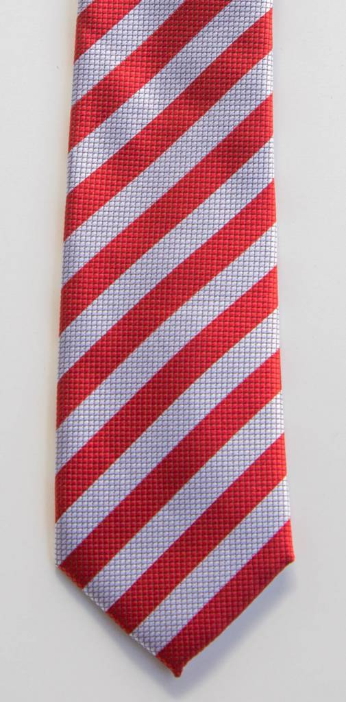 Robbins & Brooks Polyester Pocket Tie- Red & Light Grey with Checked Pattern