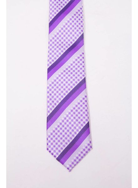 Robbins & Brooks Polyester Pocket Tie- Checked Design with Purple Stripes