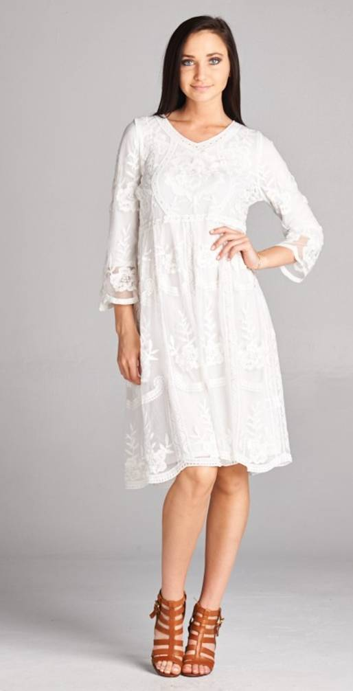 Sheer Floral Lace Dress