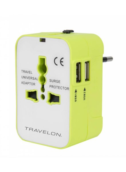 Travelon Worldwide Travel Adapter with Dual USB Chargers