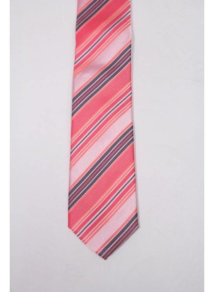 Robbins & Brooks Polyester Pocket Tie- Pink, Carmine & Brown Stripes