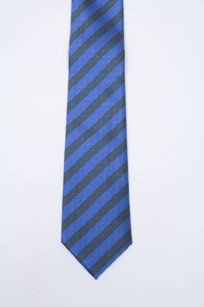 Robbins & Brooks Polyester Pocket Tie- Blue & Prasinous Stripes with Checked Pattern