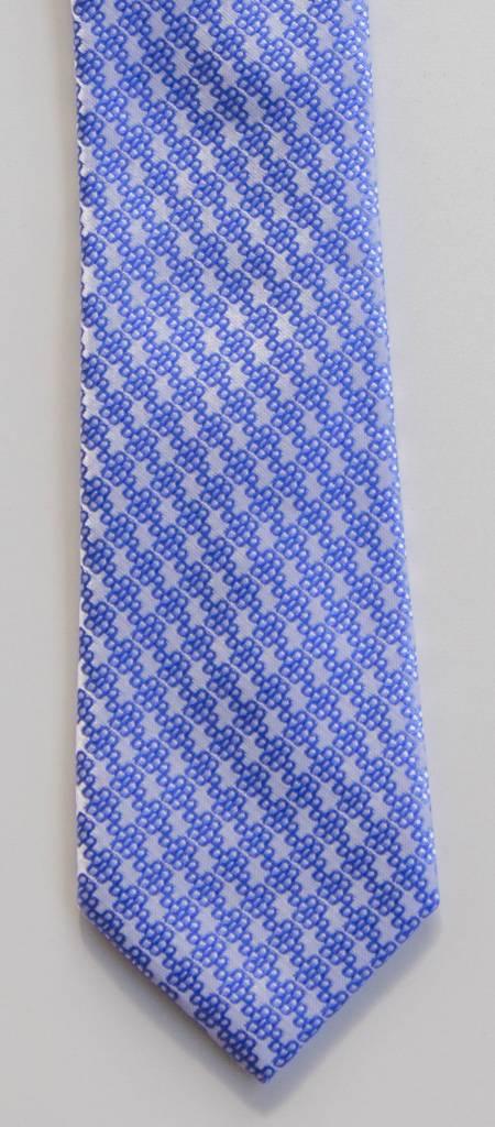 Robbins & Brooks Polyester Pocket Tie- Light Grey Design with Cyan Pattern