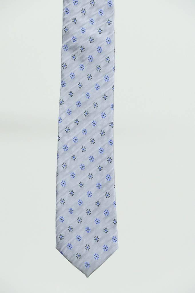 Robbins & Brooks Polyester Pocket Tie- Grey Herringbone with Little Flower