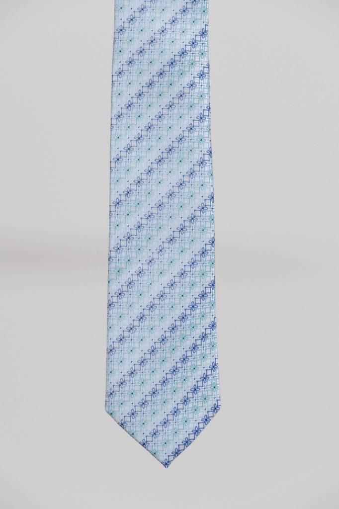 Robbins & Brooks Polyester Pocket Tie- White & Green Floral Design