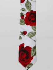 Robbins & Brooks Cotton Tie- White Design w/ Red Rose Flower