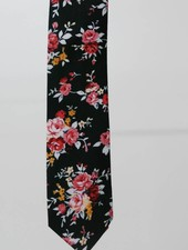 Robbins & Brooks Cotton Tie- Black Design w/ Red & Pink Flower