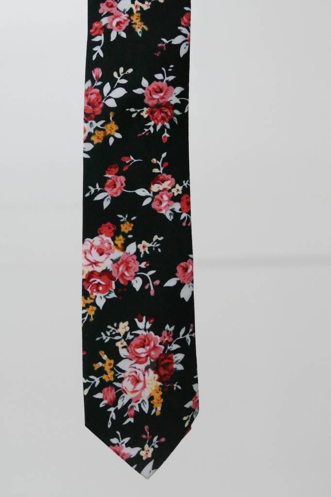 Robbins & Brooks Cotton Tie- Black Design w/ Red & Pink Flower