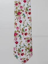 Robbins & Brooks Cotton Tie- Ivory Design w/ Red Flower