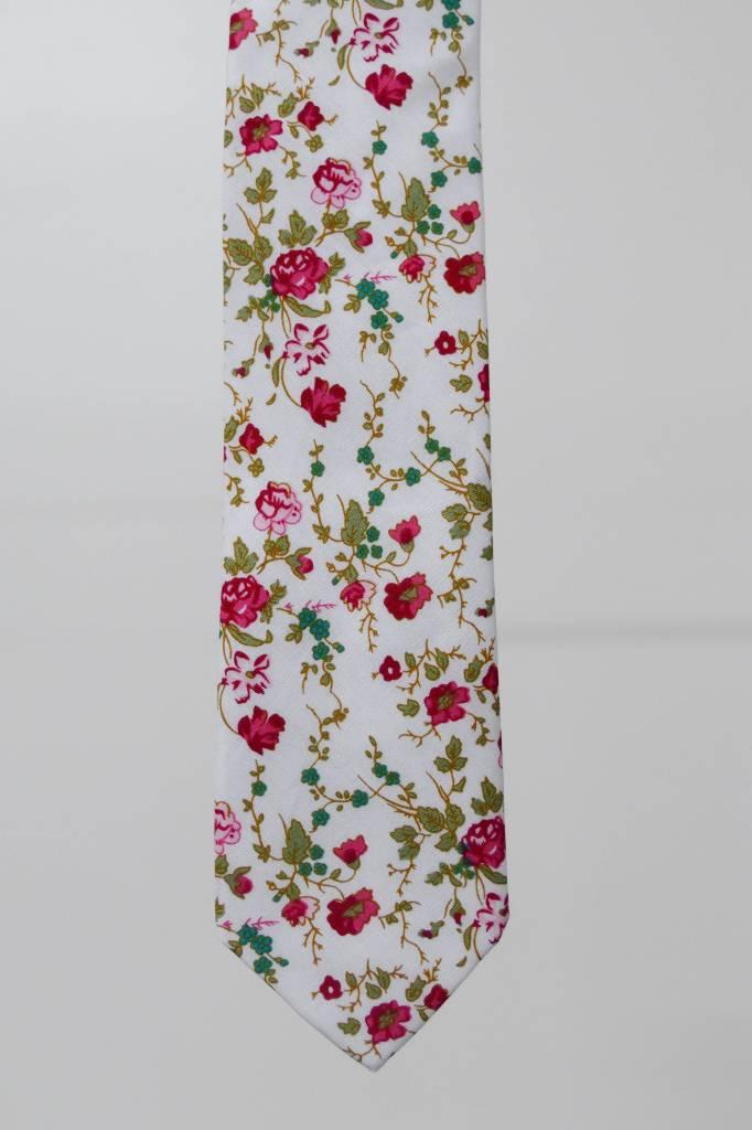 Robbins & Brooks Cotton Tie- Ivory Design w/ Red Flower