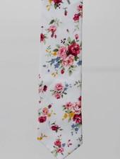Robbins & Brooks Cotton Tie- Ivory Design w/ Red & Pink Flower