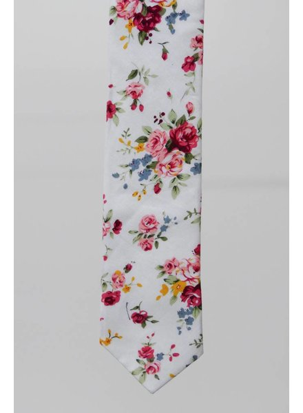 Robbins & Brooks Cotton Tie- Ivory Design w/ Red & Pink Flower