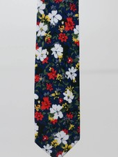 Robbins & Brooks Cotton Tie- Navy Design w/ Four Color Flower