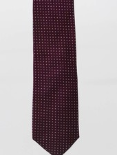 Robbins & Brooks Cotton Tie- Burgundy Design w/ Small White Dots