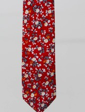 Robbins & Brooks Cotton Tie- Red Design w/ Small White & Yellow Flower