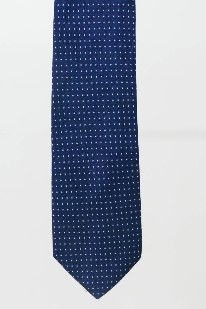 Robbins & Brooks Cotton Tie- Navy Design w/ Small White Dots