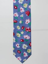 Robbins & Brooks Cotton Tie- Navy Design w/ Red, Yellow & White Flower