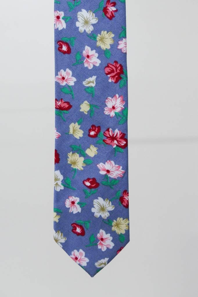 Robbins & Brooks Cotton Tie- Navy Design w/ Red, Yellow & White Flower