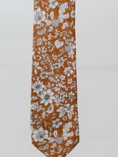 Robbins & Brooks Cotton Tie- Orange & White Design w/ White Flower