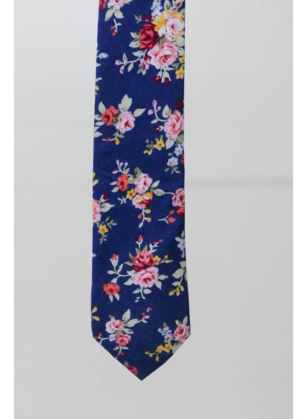 Robbins & Brooks Cotton Tie- Navy Design w/ Red & Pink Flower